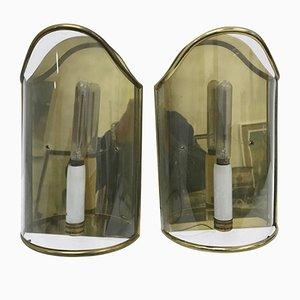 Mid-Century Modern Messing & Glas Wandlampen, 1950er, 2er Set