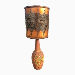 Lampada grande con paralume in metallo traforato di Accolay, anni '70