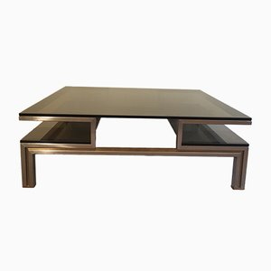 Coffee Table in Brushed Steel and Brass by Guy Lefevre for Maison Jansen, 1970s