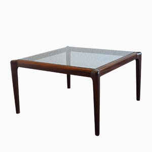 Mid-Century Coffee Table in Mahogany with Glass Top