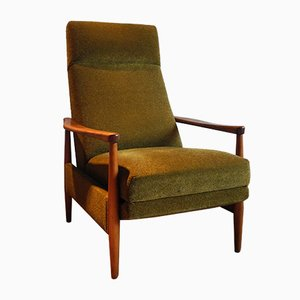 Large Mid-Century Recliner Chair with High Backrest