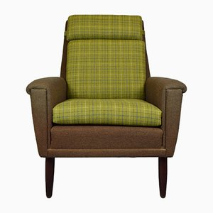 Danish Green Wool Armchair, 1960s