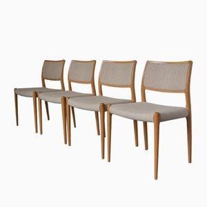 Modell 80 Stühle von Niels Otto Møller für J.L. Møllers, 1950er, 4er Set