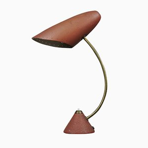 Mid-Century Table Lamp in Red and Gold