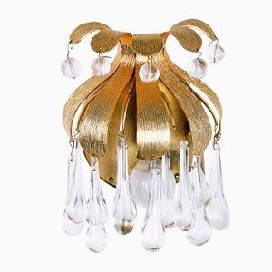 Apliques de latón dorado y cristal de Palwa, años 70. Juego de 2