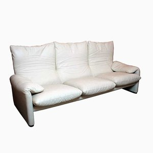 Maralunga 3- Seater Sofa in Leather by Vico Magistretti for Cassina, 1988