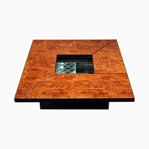 Tavolino da caffè vintage in radica di olmo di paul Michel