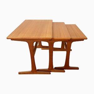 Tavoli ad incastro in teak di Kai Kristiansen per Vildbjerg Mobelfabrik, anni '60, set di 3