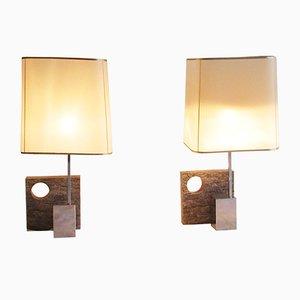 Französische Schiefer Tischlampen, 1970er, 2er Set