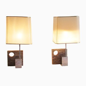 French Granite Table Lamps, 1970s, Set of 2