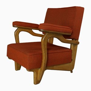 Solid Oak Armchair by Guillerme & Chambron, 1960s