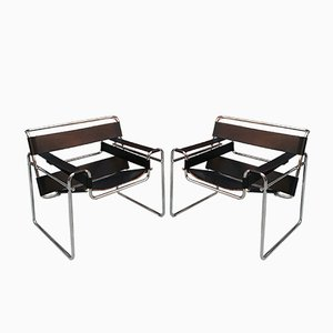 Vintage Wassily B3 Armchairs by Marcel Breuer for Knoll, Set of 2