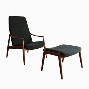 Lounge Chair & Stool by Hartmut Lohmeyer for Wilkhahn, 1950s