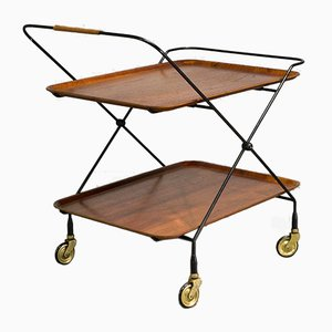 Teak & Steel Tea Trolley by Paul Nagel for JIE Gantofta, 1950s