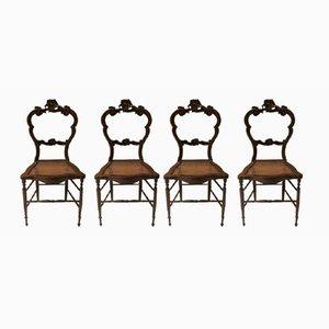 Chaises Louis Philippe en Noyer, 1840s, Set de 4