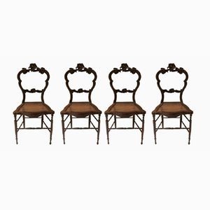 Louis Philippe Walnut Chairs, 1840s, Set of 4