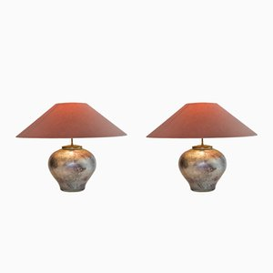 French Table Lamps from Laque Line, 1970s, Set of 2