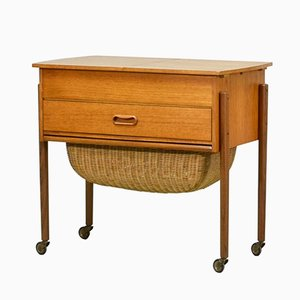Solid Teak Danish Sewing Table, 1960s