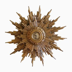 Antique Giltwood Sunburst Wall Clock, 1900s
