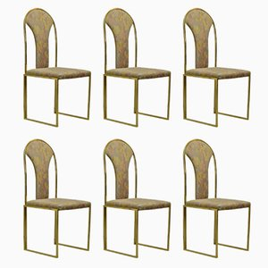 Brass Dining Chairs from Belgo Chrome, 1970s, Set of 6