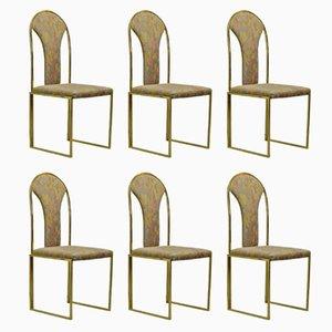 Messing Esszimmerstühle von Belgo Chrome, 1970er, 6er Set