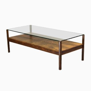 Dutch Rosewood Coffee Table with Glass Top from Fristho, 1960s