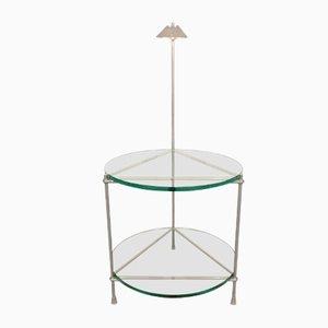 Round Beistelltisch aus Chrom und Glas mit Integrierter Lampe von Peter Ghyzcy