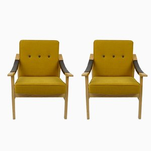 Gelbe Vintage Sessel, 2er Set