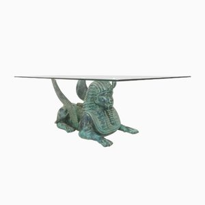 Table Basse Regency avec un Socle Sphinx en Bronze, 1980s