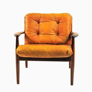 Sessel aus Palisander und braunem Leder von Grete Jalk für France & Søn, 1960er