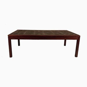 Tile Topped Coffee Table in Rosewood by Tue Poulsen, 1960s