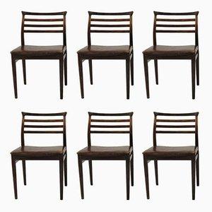 Esszimmerstühle aus Palisander und Braunem Leder von Erling Torvits für Sorø, 1960er, 6er Set