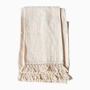 Toallas de baño de lino con flecos cortos de Once Milano. Juego de 2
