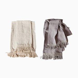 Asciugamani in lino con frangia lunga di Once Milano, set di 2