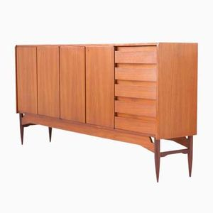 Italian Teak Sideboard with Black Top and Drawers, 1950s