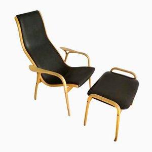 Chaise Vintage avec Repose-Pieds en Cuir de Swedese