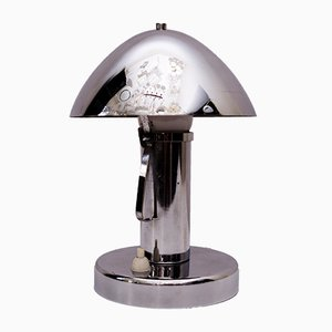 Lampada da tavolo Art Déco placcato in cromo con paralume inclinabile, anni '20