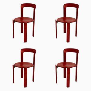 Rote Vintage Esszimmerstühle von Bruno Rey für Kusch & Co, 4er Set