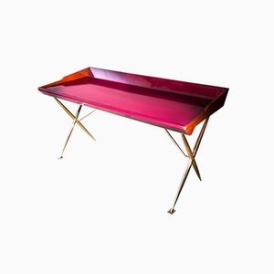 Mid-Century Inspired Lacquered Wood and Brass Versatil Writing Desk by Privatiselectionem