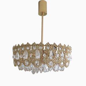 Lámpara de araña Mid-Century de latón dorado y vidrio de Palwa
