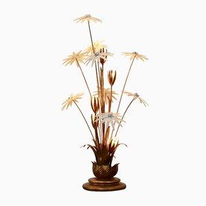 German Hollywood Regency Gilt Floral Floor Lamp by Hans Kögl, 1970s