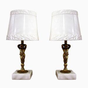 Lampade da tavolo in ottone e marmo, anni '70, set di 2