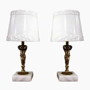 Marble and Brass Table Lamps, 1970s, Set of 2