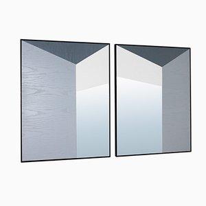 Espejos con juego geométrico de perspectivas de Marco Caliandro. Juego de 2