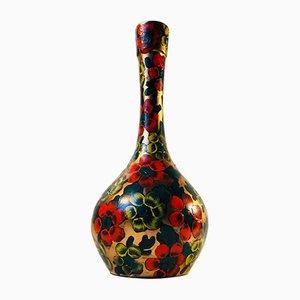 Vase Art Nouveau avec Motif Pensées Peint à la Main, 1920s