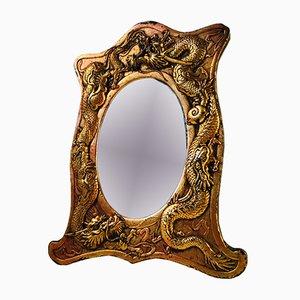 Espejo chino antiguo de bonce con dragones, década de 1900