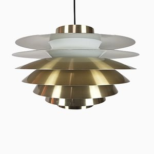 Large Brassed Verona Pendant by Svend Middelboe for Nordisk Solar, 1970s