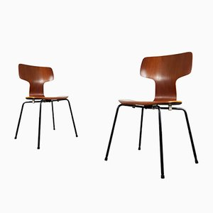 Model 3103 Hammer Chairs by Arne Jacobsen for Fritz Hansen, 1960s, Set of 2