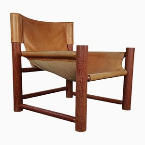 Mid-Century Leather Safari Lounge Chair, 1960s