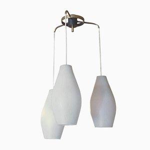 Lámpara de techo Mid-Century de vidrio opalino, años 50